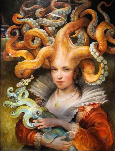 モントレー ベイ水族館に展示されている絵タコの少女